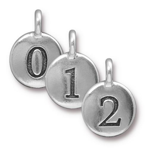 0 - 9 Numbers Round Charm - Qty 1 - TierraCast Silver Plated LEAD FREE Pewter