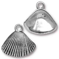 Sea Shell Charm - Qty 5 Charms - TierraCast Silver Plated LEAD FREE Pewter
