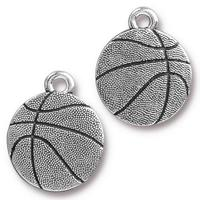 Basketball Charm - Qty 5 Charms - TierraCast Lead Free Silver Plated Pewter