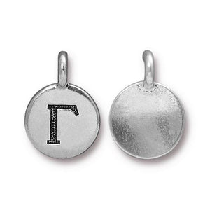 Gamma Greek Letter Round Charm - Qty 1 - TierraCast Silver Plated LEAD FREE Pewter DC
