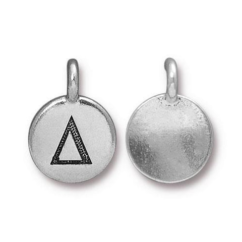 Delta Greek Letter Round Charm - Qty 1 - TierraCast Silver Plated LEAD FREE Pewter DC