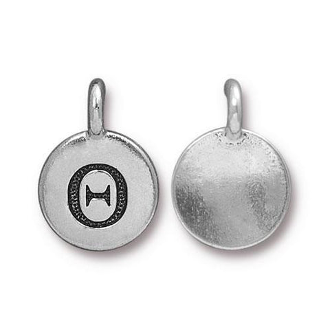 Theta Greek Letter Round Charm - Qty 1 - TierraCast Silver Plated LEAD FREE Pewter DC