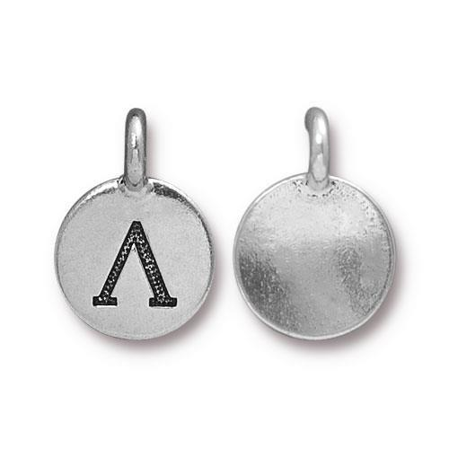Lamda Greek Letter Round Charm - Qty 1 - TierraCast Silver Plated LEAD FREE Pewter DC