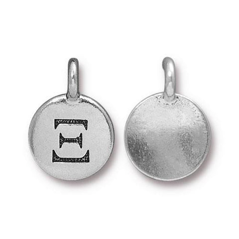 Xi Greek Letter Round Charm - Qty 1 - TierraCast Silver Plated LEAD FREE Pewter DC