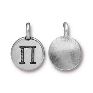 Pi Greek Letter Round Charm - Qty 1 - TierraCast Silver Plated LEAD FREE Pewter DC