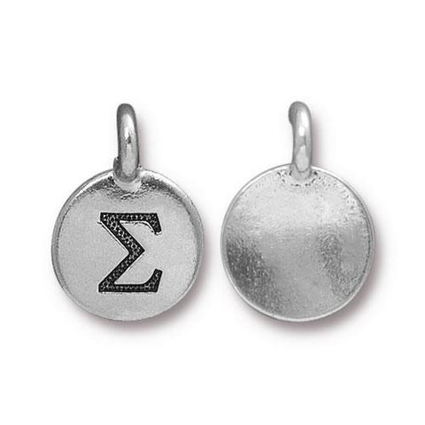 Sigma Greek Letter Round Charm - Qty 1 - TierraCast Silver Plated LEAD FREE Pewter DC