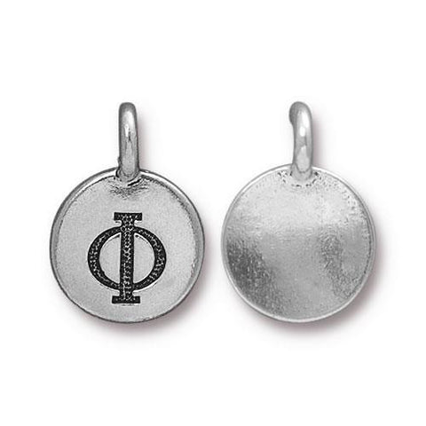 Phi Greek Letter Round Charm - Qty 1 - TierraCast Silver Plated LEAD FREE Pewter DC