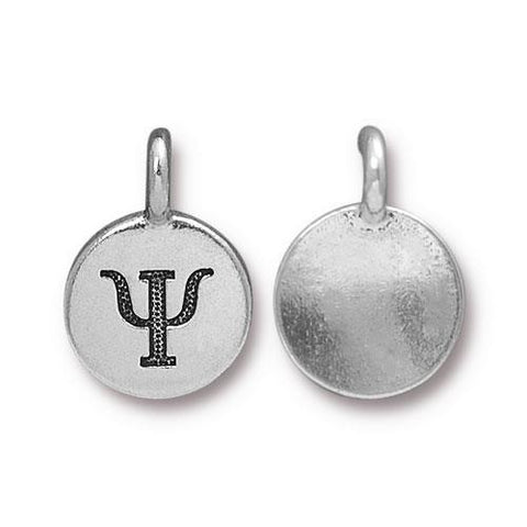 Psi Greek Letter Round Charm - Qty 1 - TierraCast Silver Plated LEAD FREE Pewter DC