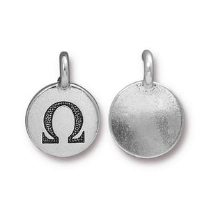 Omega Greek Letter Round Charm - Qty 1 - TierraCast Silver Plated LEAD FREE Pewter DC