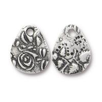 Flora Textured Small Teardrop Charm - Qty 5 - TierraCast Antiqued Plated Lead Free Pewter Silver