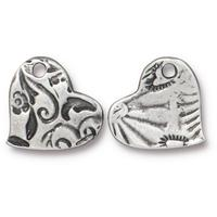 Small Amor Textured Heart Charm - Qty 5 - TierraCast Antiqued Plated Lead Free Pewter Silver