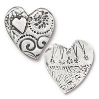 Large Amor Textured Heart Pendant Charm - Qty 3 - TierraCast Antiqued Plated Lead Free Pewter Silver