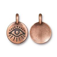 Evil Eye Protection Charm - Qty 5 Charms - TierraCast Copper Plated LEAD FREE Pewter