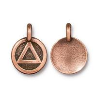 Recovery Symbol AA Small Solid Charm - Qty 5 Charms - TierraCast Copper Plated Lead Free Pewter