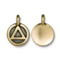 Recovery Symbol AA Small Solid Charm - Qty 5 Charms - TierraCast 22kt Gold Plated Lead Free Pewter