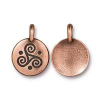 Triskele Triple Spiral Round Charm - Qty 5 Charms - TierraCast Lead Free Copper Plated Pewter