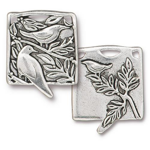 Botanical Birds Pendant Link - Qty 1 - TierraCast Silver Plated Lead Free Pewter