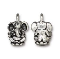 Ganesh Elephant Charm - Qty 5 Charms - TierraCast Fine Silver Plated Lead Free Pewter