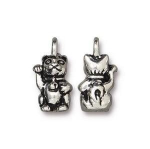 Beckoning Kitty Cat Charm - Qty 5 Charms - TierraCast Silver Plated Lead Free Pewter