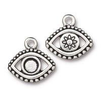 Evil Eye Bezel Charm - Qty 5 Charms - TierraCast Silver Plated LEAD FREE Pewter