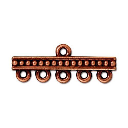 Beaded 5-1 Link Bar - Qty 2 - TierraCast Copper Plated Lead Free Pewter