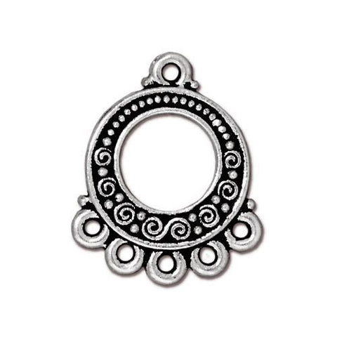Spirals & Beads 5-1 Link - Qty 2 - TierraCast Silver Plated Lead Free Pewter