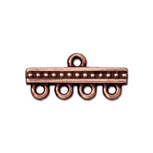 Beaded 4-1 Link Bar - Qty 4 - TierraCast Copper Plated Lead Free Pewter