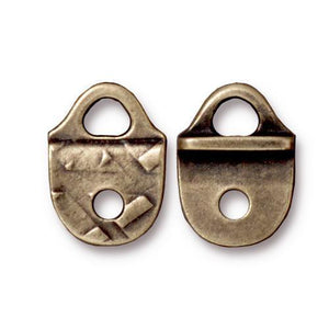 Rock & Roll Strap Tip - Qty 2 - TierraCast Brass Ox Plated Lead Free Pewter