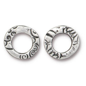 Flora Small Link Ring - Qty 5 - TierraCast Antiqued Plated Lead Free Pewter Silver