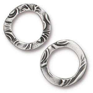 Medium Flora Link Ring - Qty 5 - TierraCast Antiqued Plated Lead Free Pewter Silver