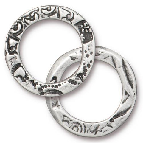 Flora Large Link Ring - Qty 5 - TierraCast Antiqued Plated Lead Free Pewter Silver