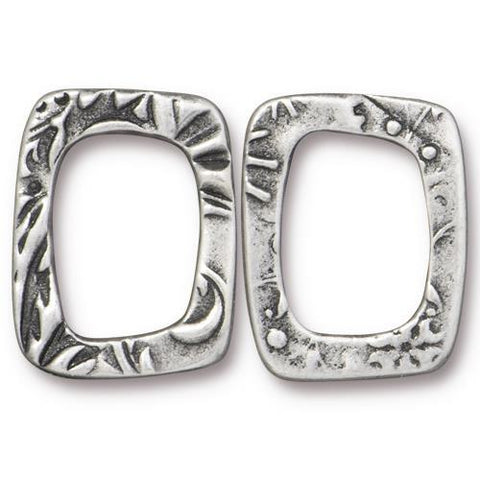 Large Jardin Rectangle Link Ring - Qty 5 - TierraCast Antiqued Plated Lead Free Pewter Silver