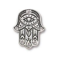 Hamsa Hand Link Pendant Charms - Qty 2 Charms - TierraCast Silver Plated LEAD FREE Pewter