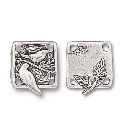 Botanical Birds Small Link - Qty 3 - TierraCast Silver Plated Lead Free Pewter