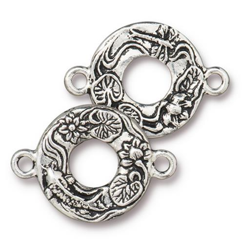 Koi Pond Link Connector - Qty 4 - TierraCast Antiqued Silver Plated LEAD FREE Pewter