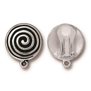 Spiral Earring Clip On with  Loop - Qty 1 Pair - TierraCast Silver Plated Lead Free Pewter