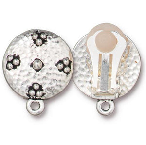 Opulence Earring Clip On with  Loop - Qty 1 Pair - TierraCast Silver Plated Lead Free Pewter