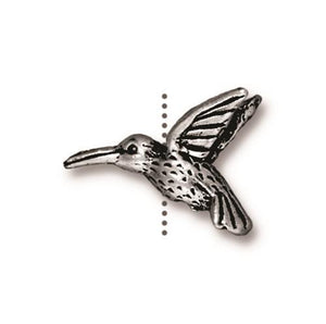 Hummingbird Beads -  Qty 5 - TierraCast Silver Plated Lead Free Pewter
