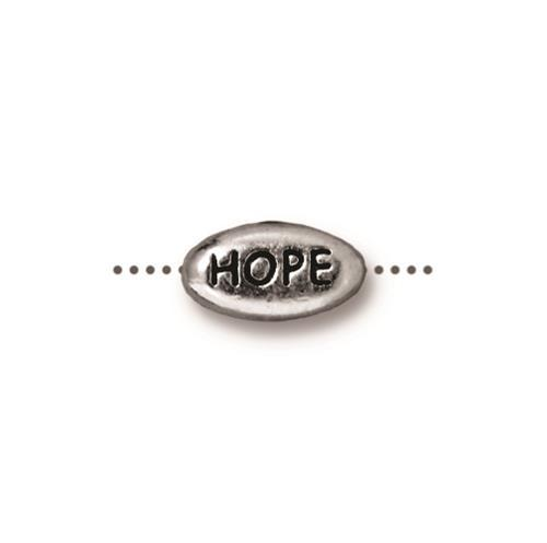 Hope Word Bead - Qty 5 - TierraCast Rhodium Silver Plated Lead Free Pewter