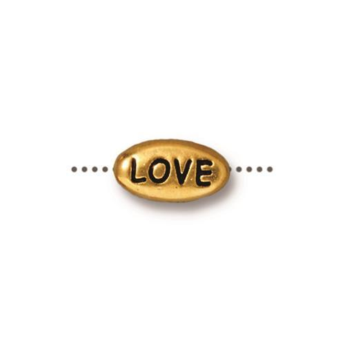 Love Word Bead - Qty 5 - TierraCast 22kt Gold Plated Lead Free Pewter
