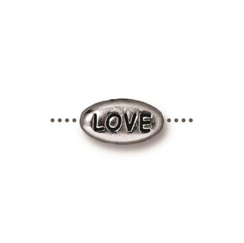 Love Word Bead - Qty 5 - TierraCast Rhodium Silver Plated Lead Free Pewter