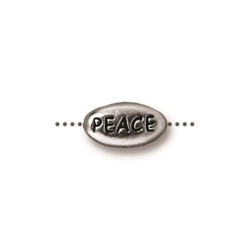 Peace Word Bead - Qty 5 - TierraCast Rhodium Silver Plated Lead Free Pewter
