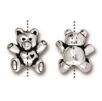 Teddy Bear Beads - Qty 5 Beads - TierraCast Fine Silver Plated Lead Free Pewter