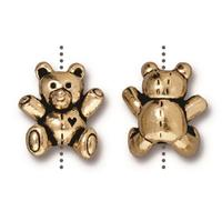 Teddy Bear Beads - Qty 5 Beads - TierraCast Fine 22kt Gold-plated Lead Free Pewter
