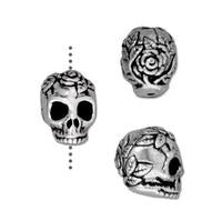 Rose Skull Small Vertical Hole Beads - Qty 5 - TierraCast Silver Plated Lead Free Pewter