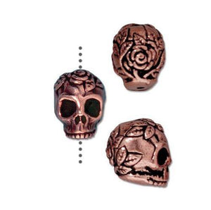 Rose Skull Small Vertical Hole Beads - Qty 5 - TierraCast Copper Plated Lead Free Pewter