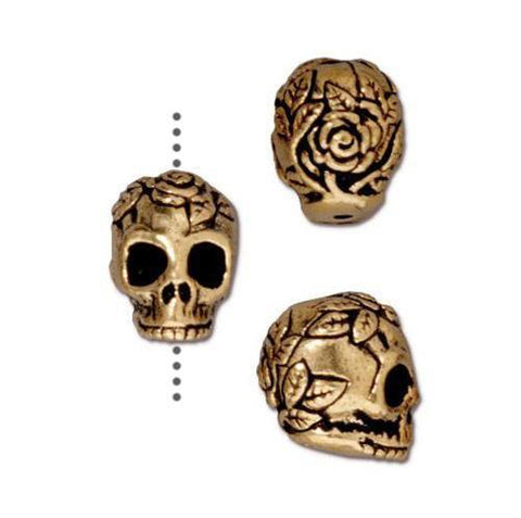 Rose Skull Small Vertical Hole Beads - Qty 5 - TierraCast 22kt Gold Plated Lead Free Pewter