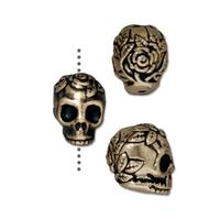 Rose Skull Small Vertical Hole Beads - Qty 5 - TierraCast Brass Ox Plated Lead Free Pewter