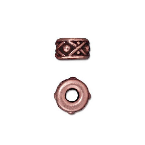 Legend 8mm Large Hole Bead - Qty 5 - TierraCast Copper Plated Lead Free Pewter