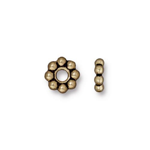 Beaded 8mm Large Hole Spacer Bead - Qty 10 - TierraCast Brass Ox Plated LEAD FREE Pewter